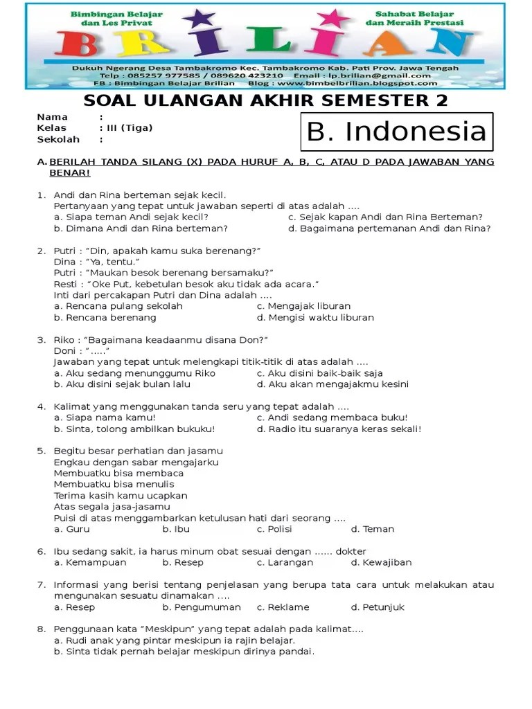 Soal Uas Kelas 3 Sd Semester 2 : kelas, semester, Bahasa, Indonesia, Kelas, Semester, Kunci, Jawaban