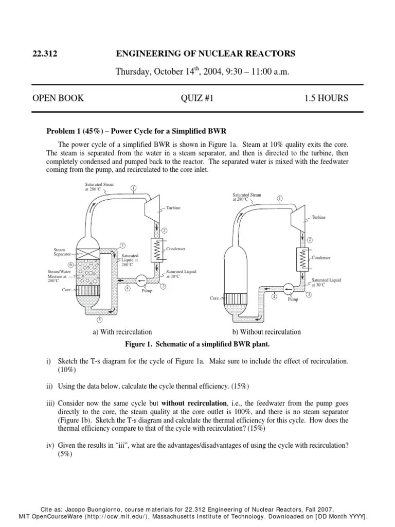 hight resolution of relavant mit questions with solutions pressurized water reactor steam