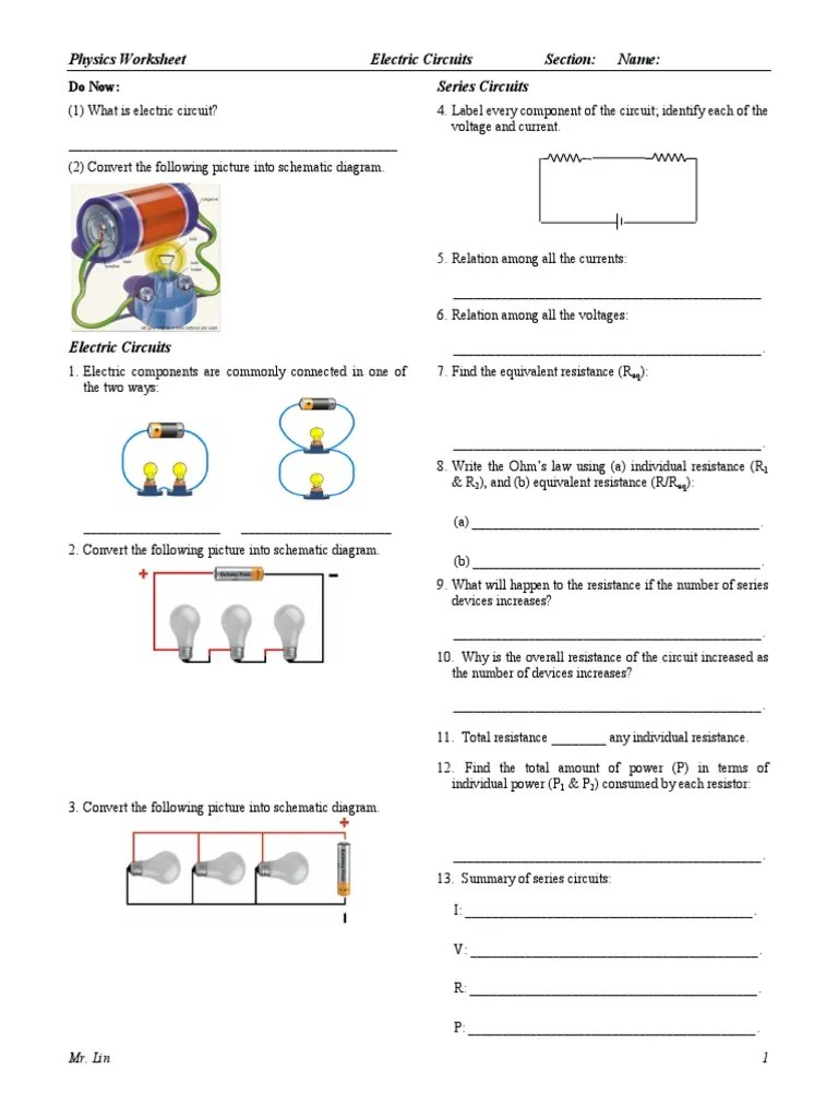 Physics Worksheet Lesson 19 Electric Circuits.pdf   Series And Parallel  Circuits   Electrical Resistance And Conductance [ 1024 x 768 Pixel ]