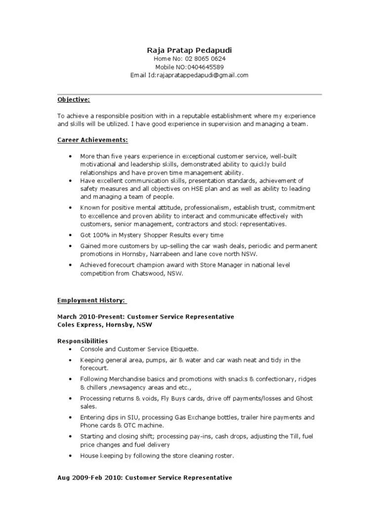Coles Express Resume 2 Customer Service