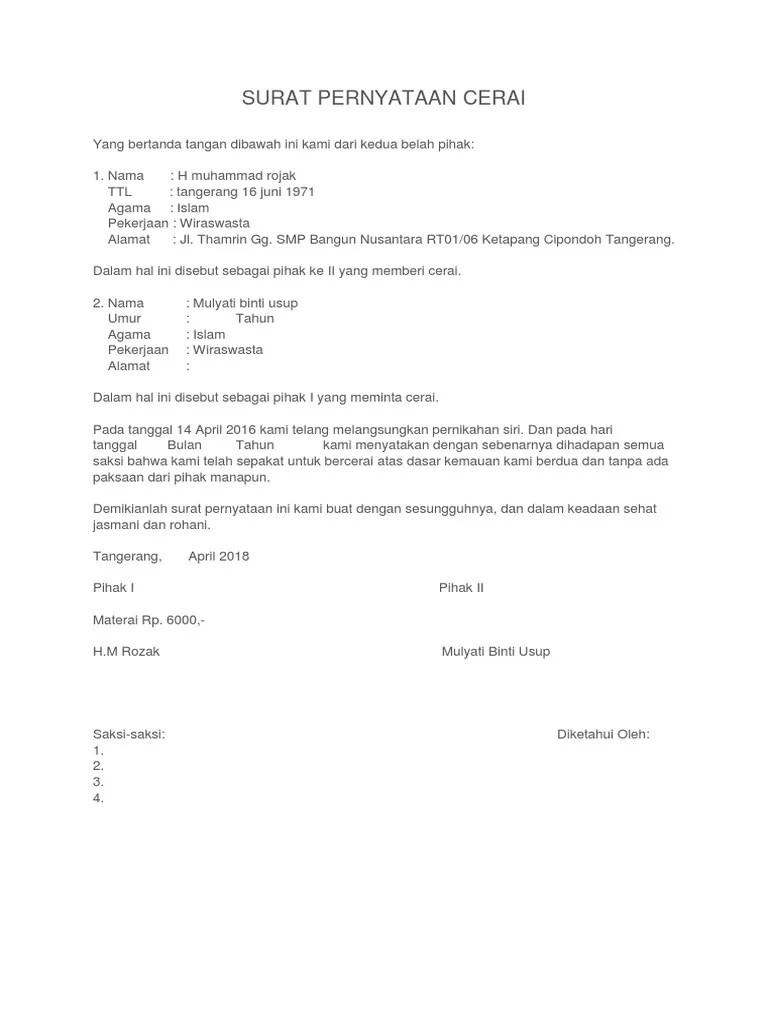 Surat Pernyataan Nikah Siri : surat, pernyataan, nikah, Contoh, Surat, Nikah