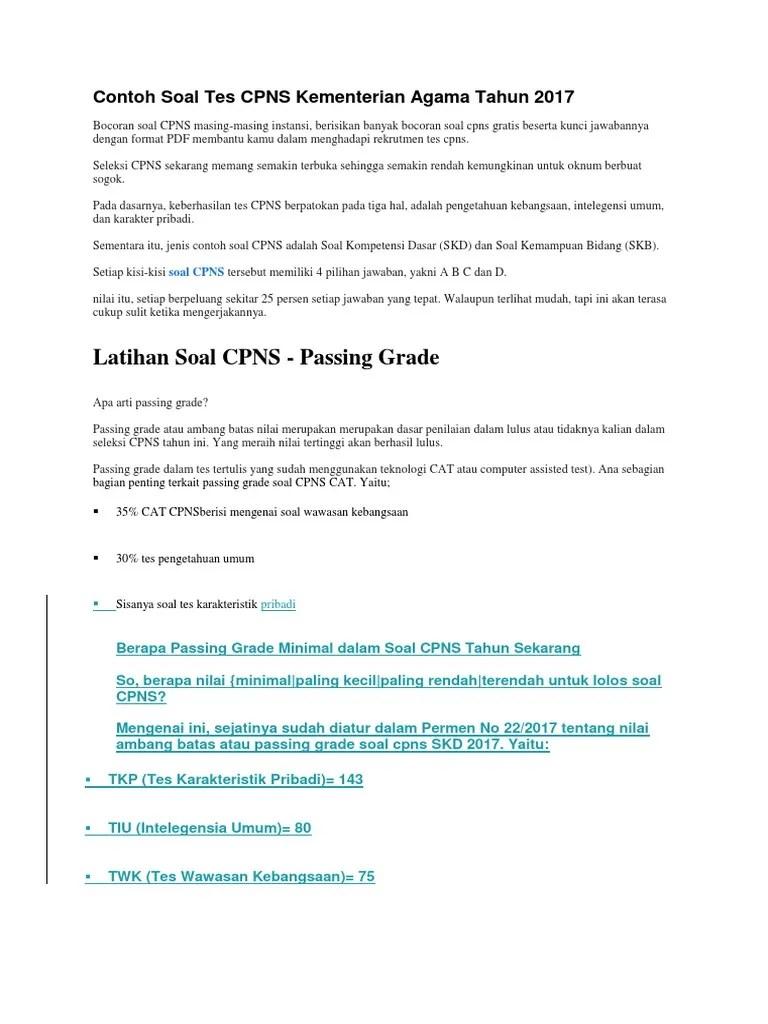Contoh Soal CPNS 2019/2020 - Prediksi Soal SKB Guru PAI