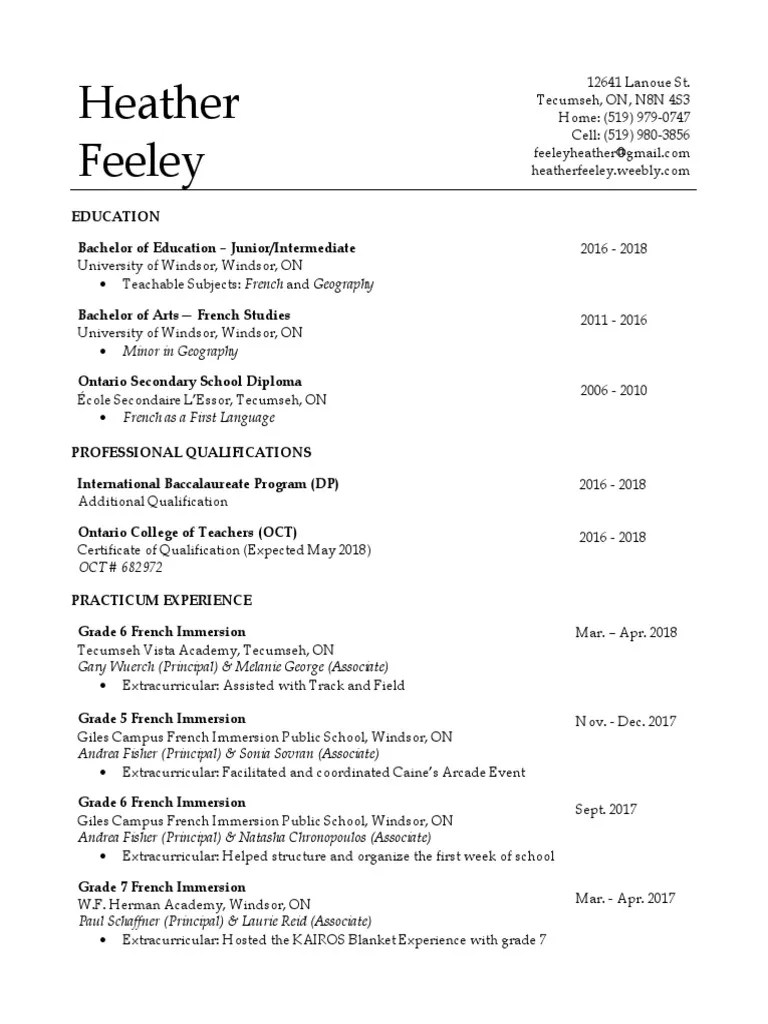 small resolution of heather feeley - teaching resume   Learning   Educational Stages