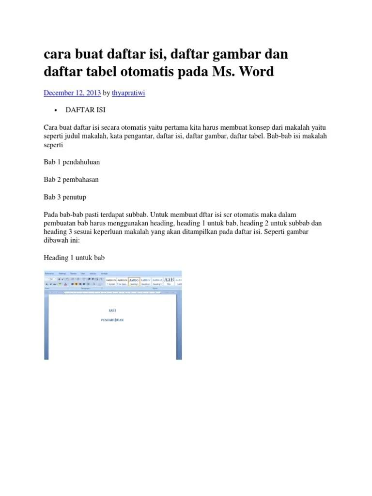 Membuat Daftar Isi Otomatis Word 2013 : membuat, daftar, otomatis, Daftar