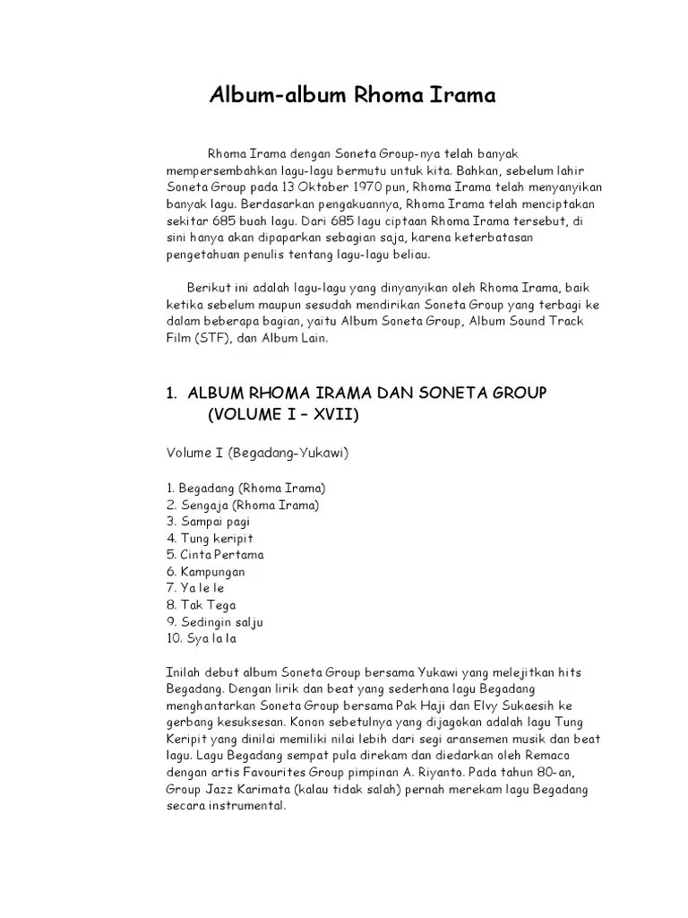 Lagu Pantun Cinta Rhoma Irama : pantun, cinta, rhoma, irama, 51600090-Daftar-Lagu-Lengkap-Rhoma-Irama-Album-STF-Lain2.docx