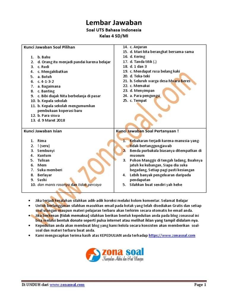 Soal UTS Ganjil Bahasa Indonesia Kelas 4 SD