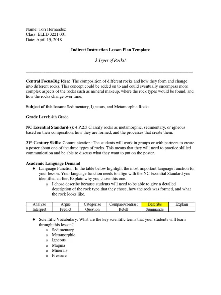 small resolution of 5e lesson plan on 3 types of rocks   Rock (Geology)   Educational Assessment