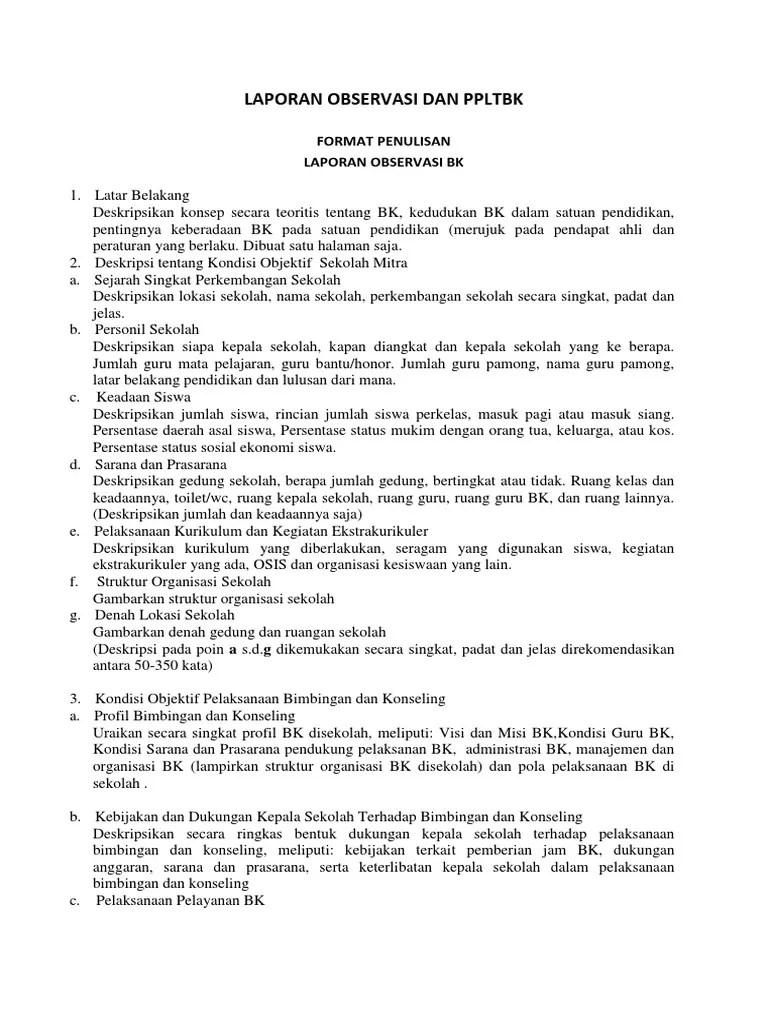 Contoh Laporan Observasi Bk Di Smp Kumpulan Contoh Laporan Cute766