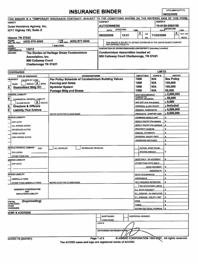 Hoa Insurance Binder Mortgage Law Insurance