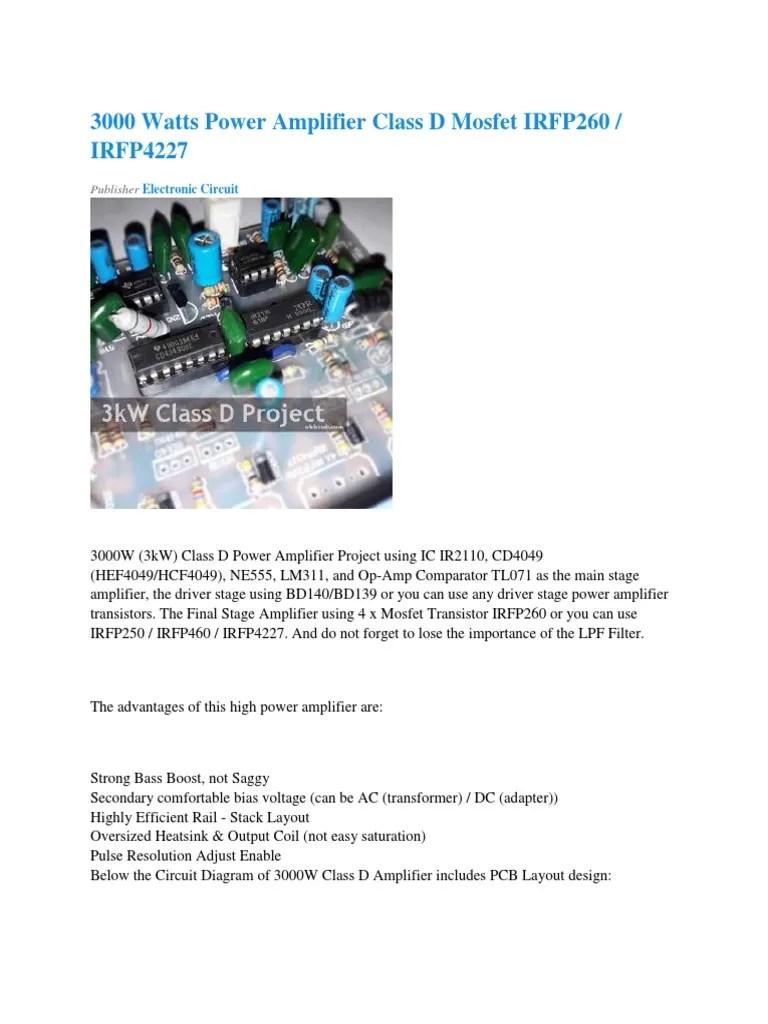 hight resolution of 3000 watts power amplifier class d mosfet irfp260 irfp4227 electronic circuit