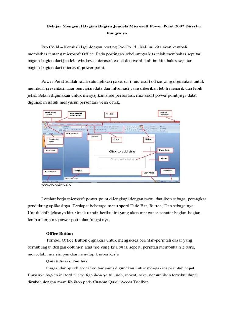 Fungsi Menu Dan Ikon Pada Microsoft Powerpoint 2007 : fungsi, microsoft, powerpoint, Belajar, Mengenal, Bagian, Jendela, Microsoft, Power, Point, Disertai, Fungsinya