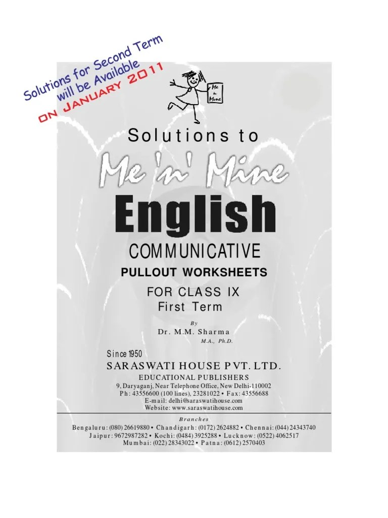 small resolution of Me n Mine English Ix Answer Book   Drinking Water   Literacy