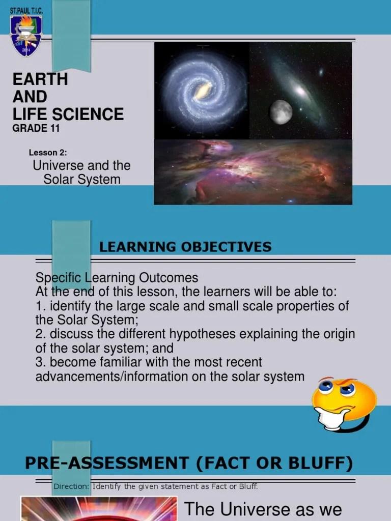 medium resolution of ELS- Lesson 2 Universe \u0026 the Solar System.ppt