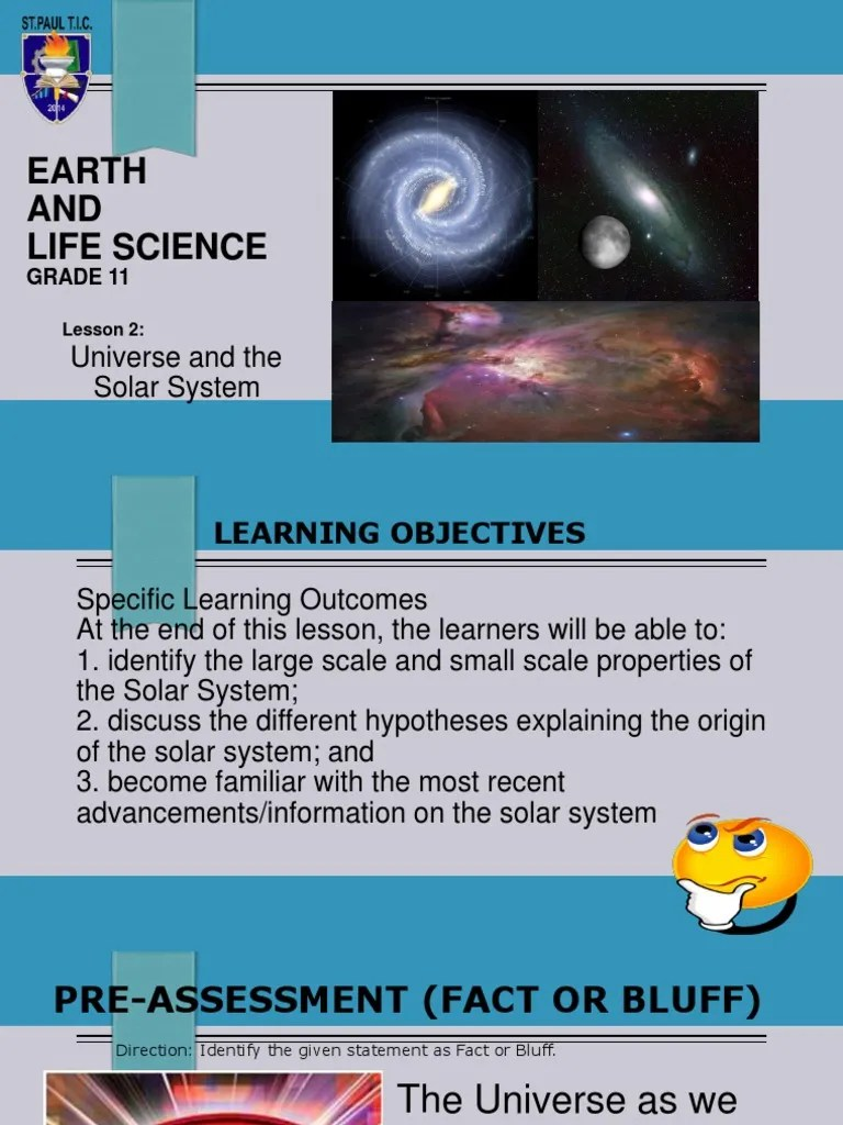 small resolution of ELS- Lesson 2 Universe \u0026 the Solar System.ppt