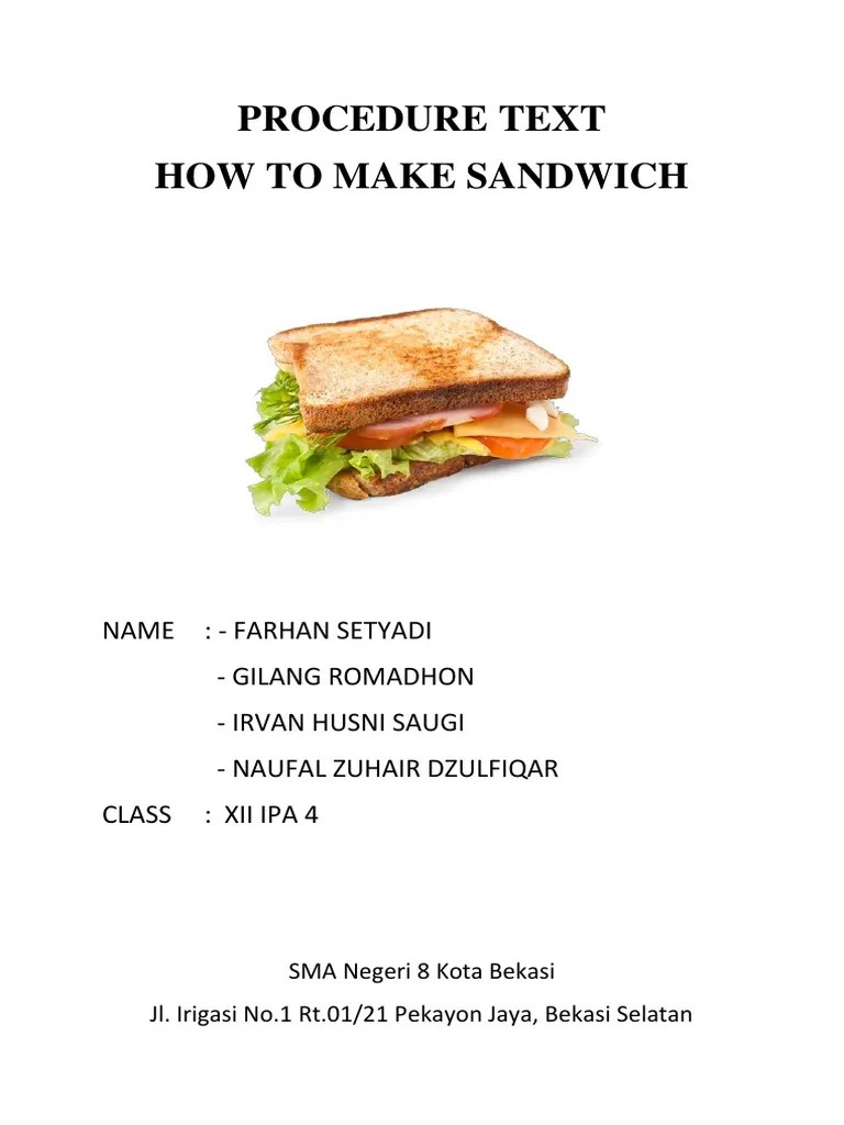 How to Make a Jam Sandwich Procedure Word and Picture Matching...