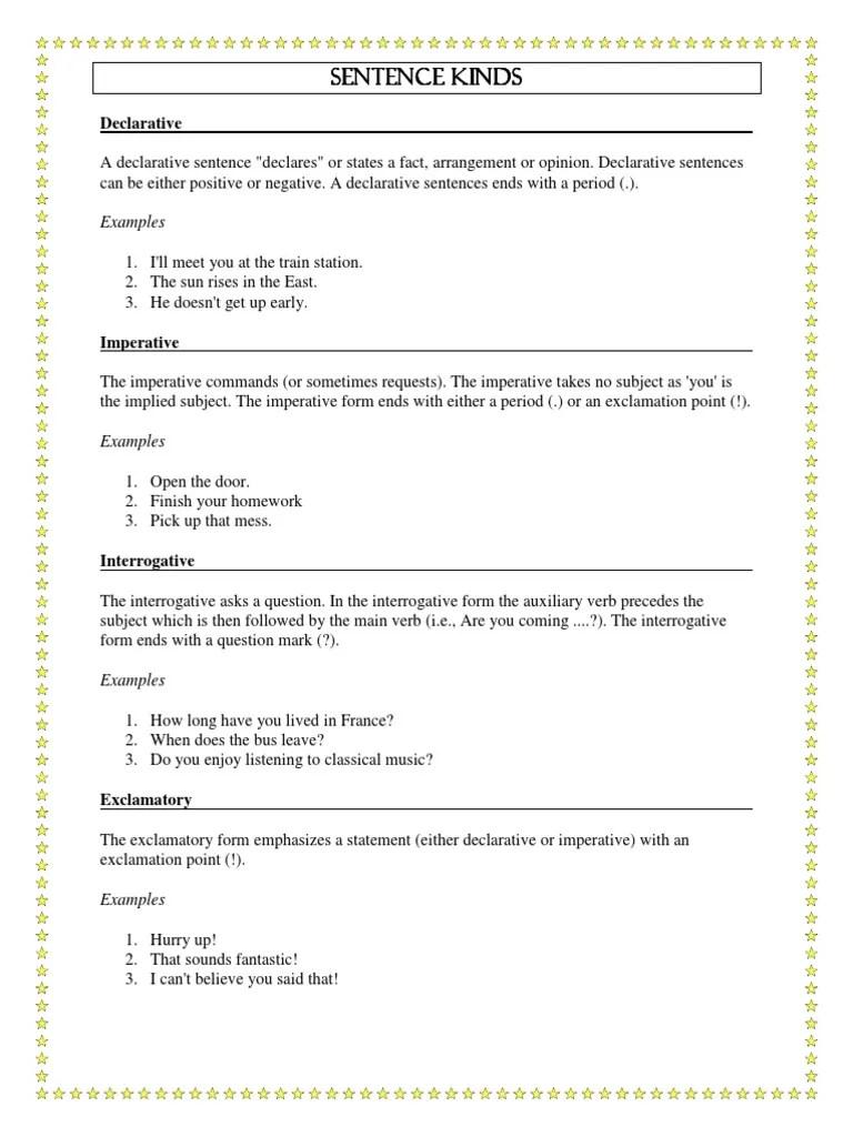 Kinds \u0026 Types of Sentences.pdf   Sentence (Linguistics)   Languages [ 1024 x 768 Pixel ]