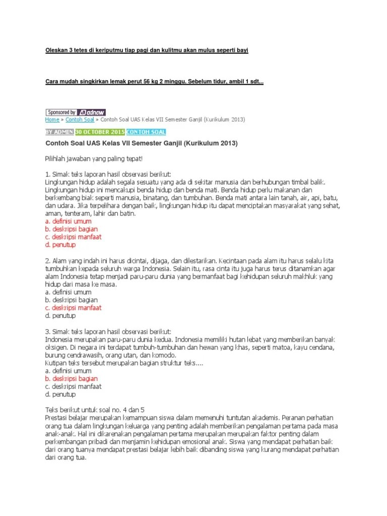 Soal Pilihan Ganda Teks Deskripsi Kelas 7 Kurikulum 2013 : pilihan, ganda, deskripsi, kelas, kurikulum, Contoh, Deskripsi, Kelas, Kurikulum, Terbaru