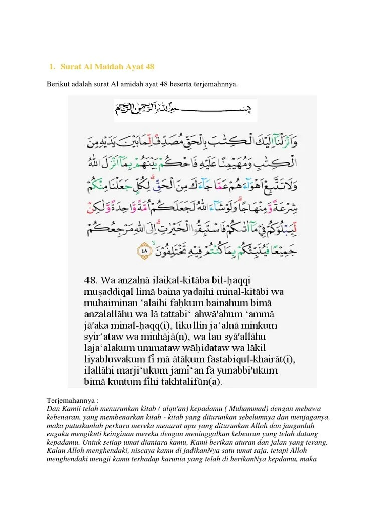 Almaidah Ayat 48 : almaidah, Praktek, Agama, Surah