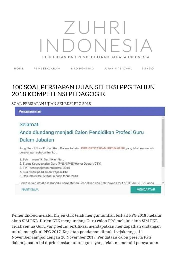 Contoh Soal Ppg Dalam Jabatan 2018 Contoh Soal Terbaru