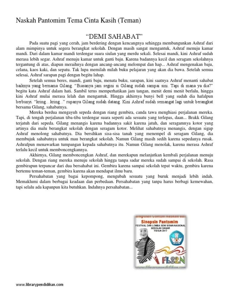 Contoh Naskah Pantomim : contoh, naskah, pantomim, Kumpulan, Contoh, Naskah, Pantomim, Cinta, Kasih, FLS2N, 2017.docx