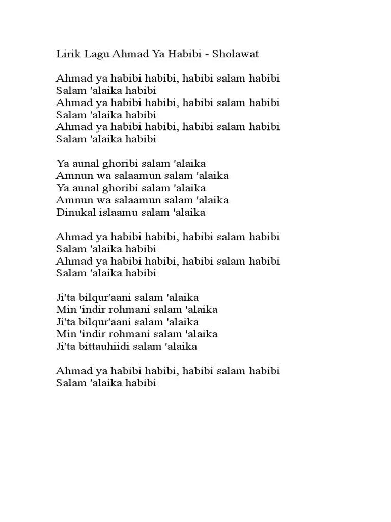 Lagu Sholawat Ahmad Ya Habibi : sholawat, ahmad, habibi, Lirik, Ahmad, Habibi