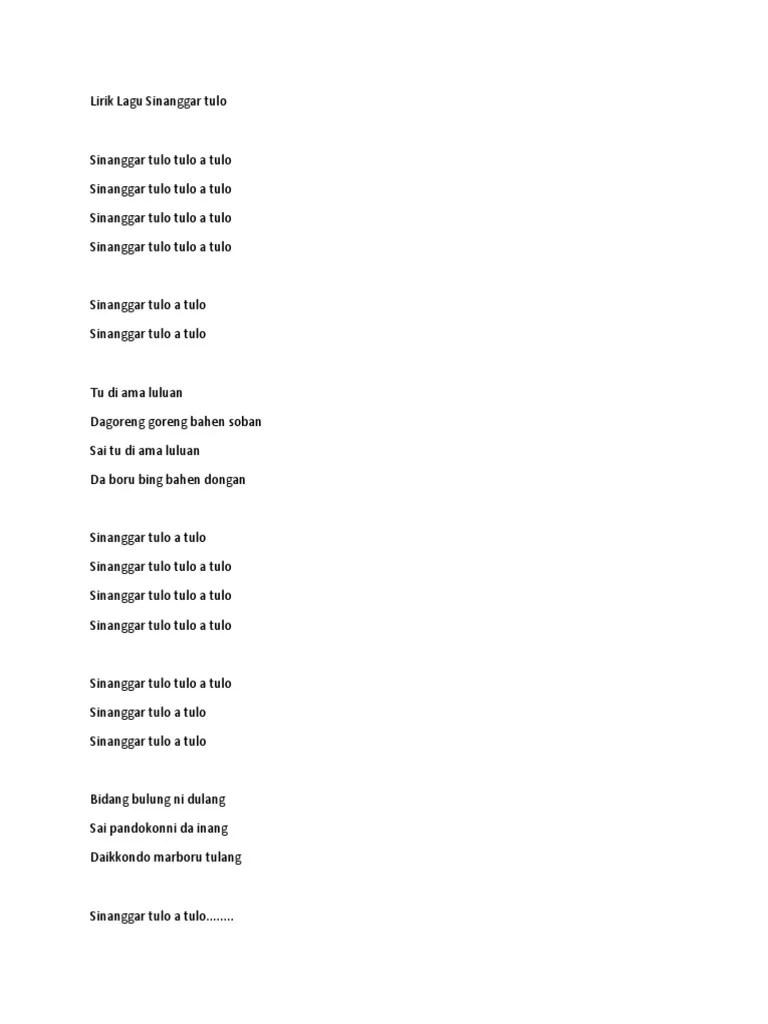 Lirik Sinanggar Tulo : lirik, sinanggar, Lirik, Sinanggar