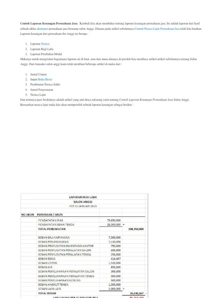 Contoh Laporan Keuangan Perusahaan Jasa Salon : contoh, laporan, keuangan, perusahaan, salon, Contoh, Laporan, Keuangan, Perusahaan