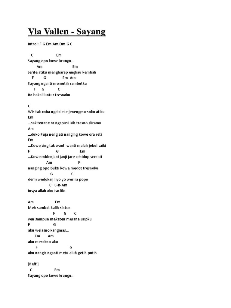 Sayang Via Vallen Chord : sayang, vallen, chord, Chord, Vallen, Sayang, Walls