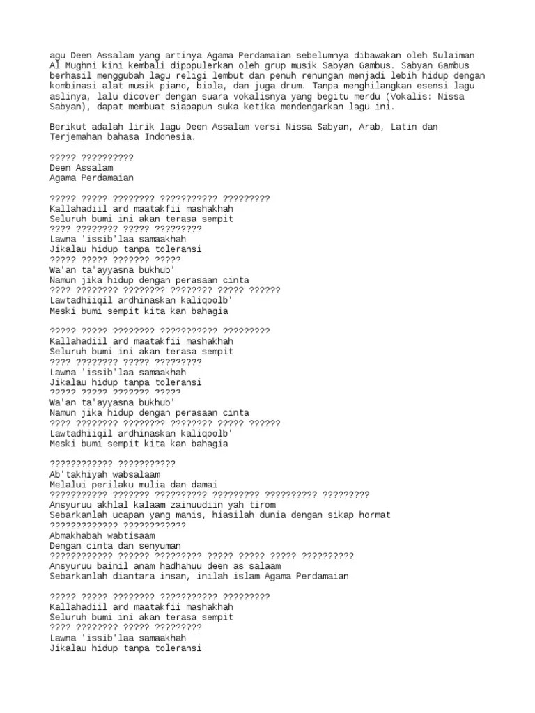 Lirik Deen Assalam Bahasa Arab : lirik, assalam, bahasa, Lirik, Assalam, Nissa, Sabyan, Bahasa, Indonesia