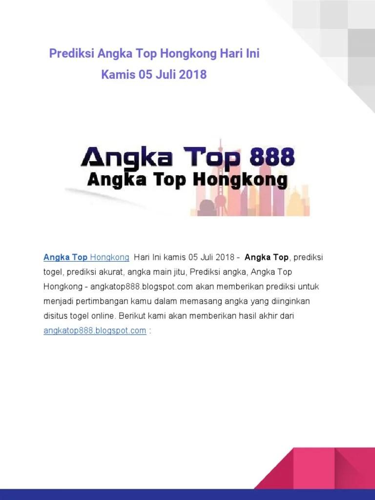 Angka Top Kamis : angka, kamis, Prediksi, Angka, Hongkong, Kamis