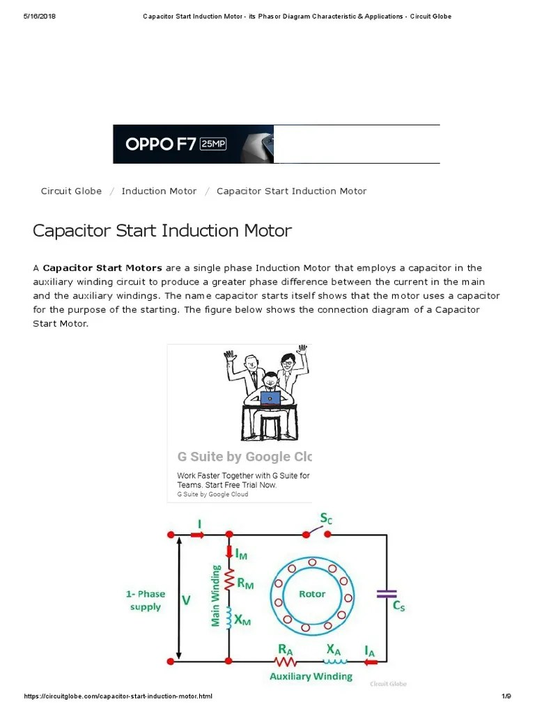 capacitor start induction motor its phasor diagram characteristic applications circuit globe electric motor capacitor [ 768 x 1024 Pixel ]