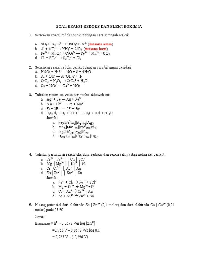 Soal Reaksi Redoks : reaksi, redoks, Reaksi, Redoks, Elektrokimia-1