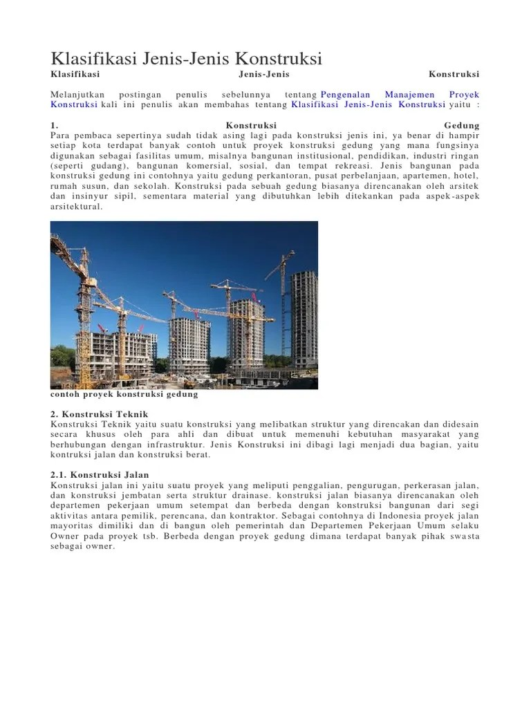 Tuliskan 3 Contoh Proyek Kontruksi Bangunan Gedung! - Brainly.co.id