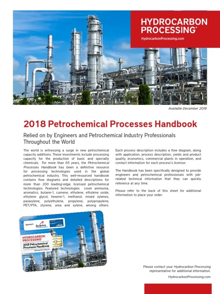 hight resolution of 2018 petrochemical processes handbook petrochemical products of chemical industry