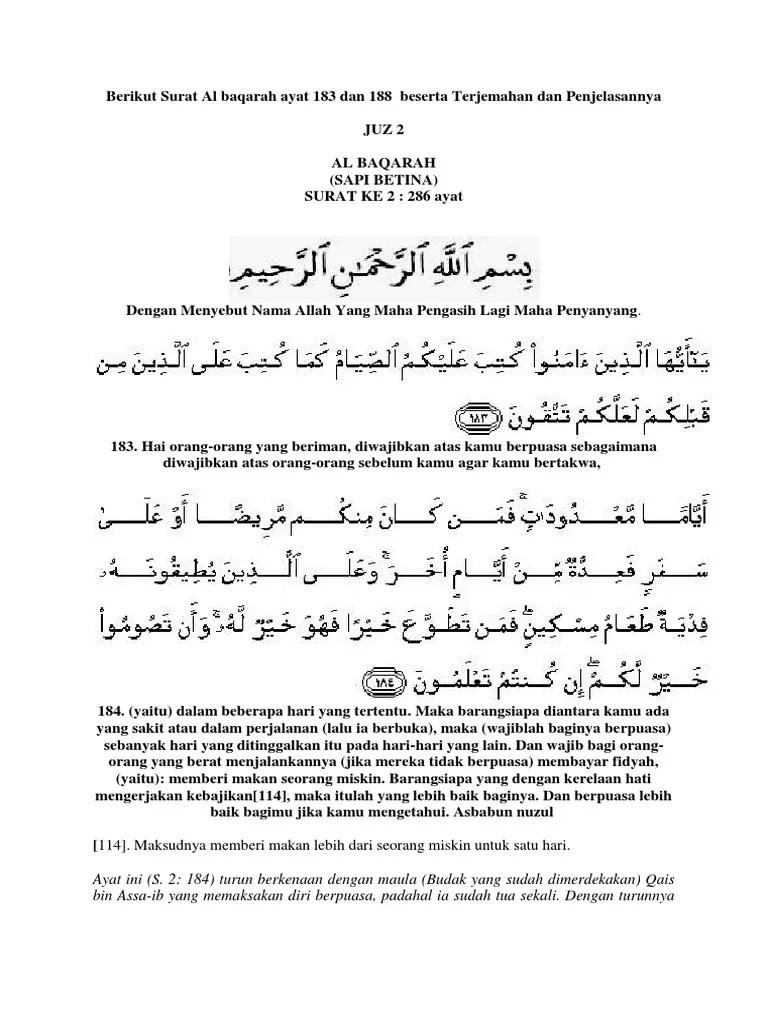 Al Baqarah Ayat 183 Dan Artinya : baqarah, artinya, Berikut, Surat, Baqarah, 188.docx
