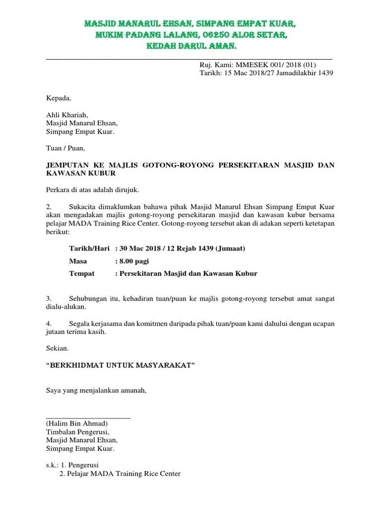 Contoh Surat Rasmi Jemputan Gotong Royong Contoh U Cute766