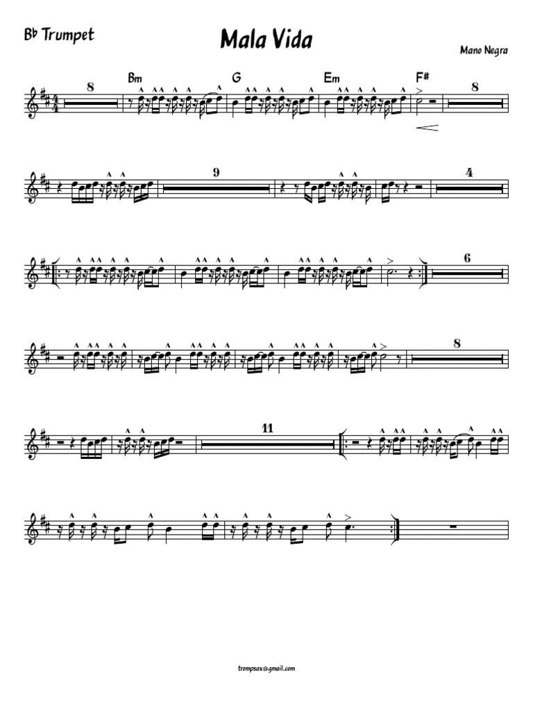 Mano Negra Mala Vida : negra, Vida-Bb, Trumpet