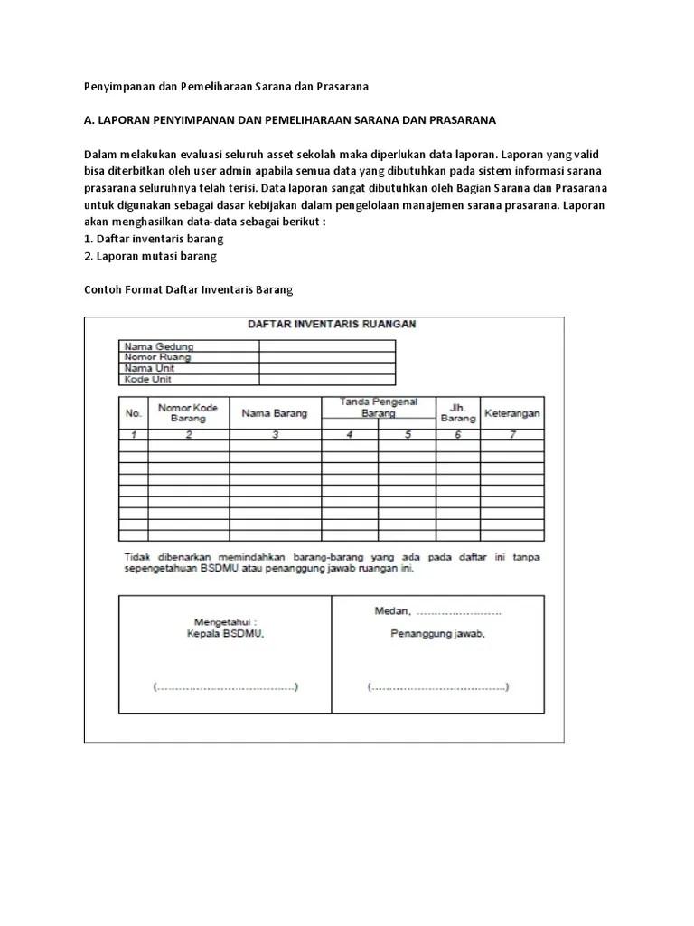 Contoh Format Laporan Sarana Prasarana Sekolah : contoh, format, laporan, sarana, prasarana, sekolah, Laporan, Penyimpanan, Pemeliharaan, Sarana, Prasarana