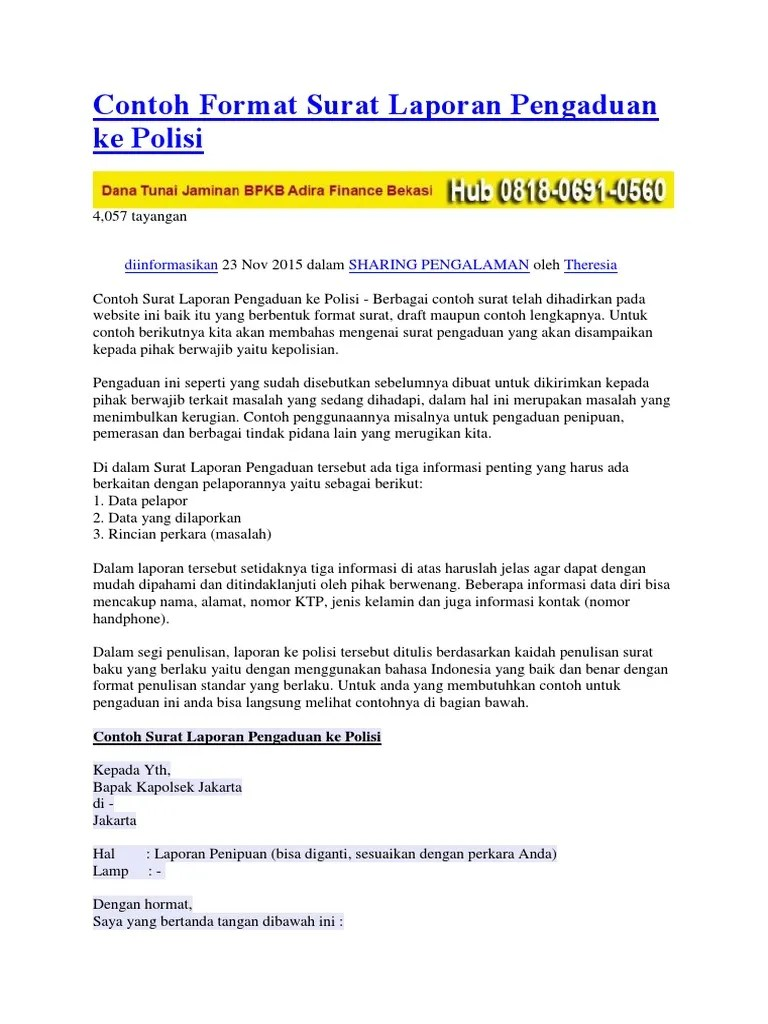 Contoh Surat Laporan Pengaduan Ke Polisi Tentang Pencemaran Nama Baik Kumpulan Contoh Laporan Cute766