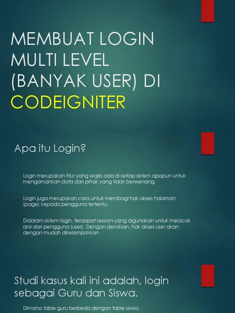 Membuat Login Multi User Dengan Codeigniter : membuat, login, multi, dengan, codeigniter, MEMBUAT, LOGIN, MULTI, LEVEL, Codeigniter.pptx