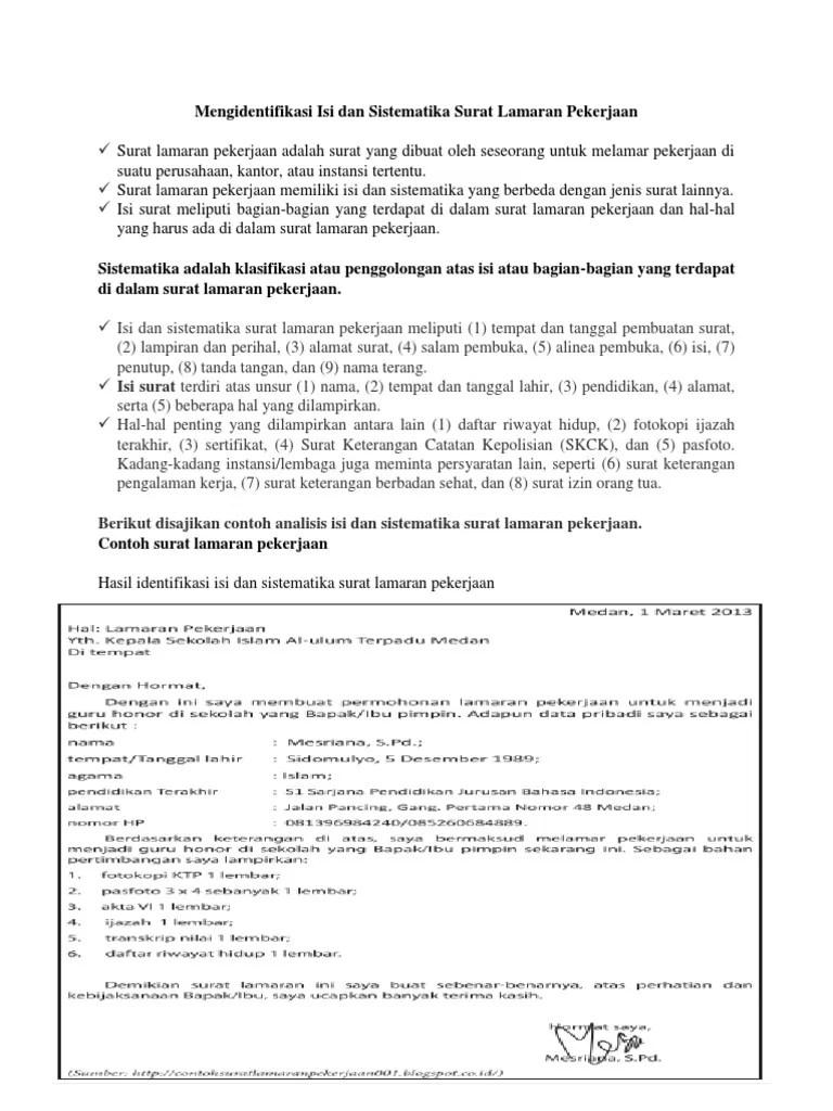 Sistematika Surat Lamaran Kerja : sistematika, surat, lamaran, kerja, Surat, Lamaran, Kerja