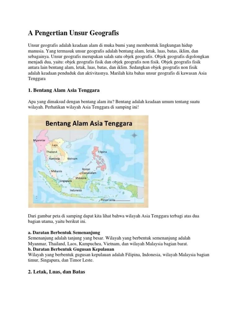 Bentang Alam Kamboja : bentang, kamboja, Pengertian, Unsur, Geografis.docx