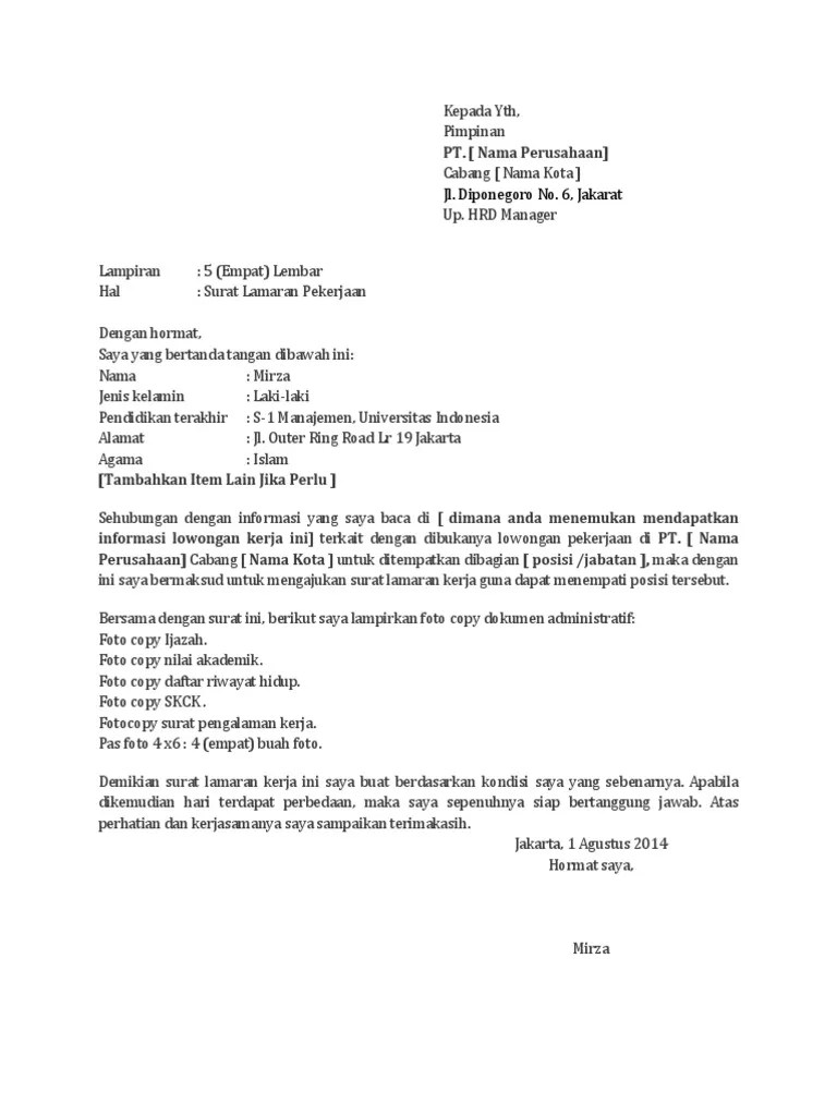 Surat Lamaran Kerja Simple : surat, lamaran, kerja, simple, Membuat, Lamaran, Kerja, Simple, Cute766