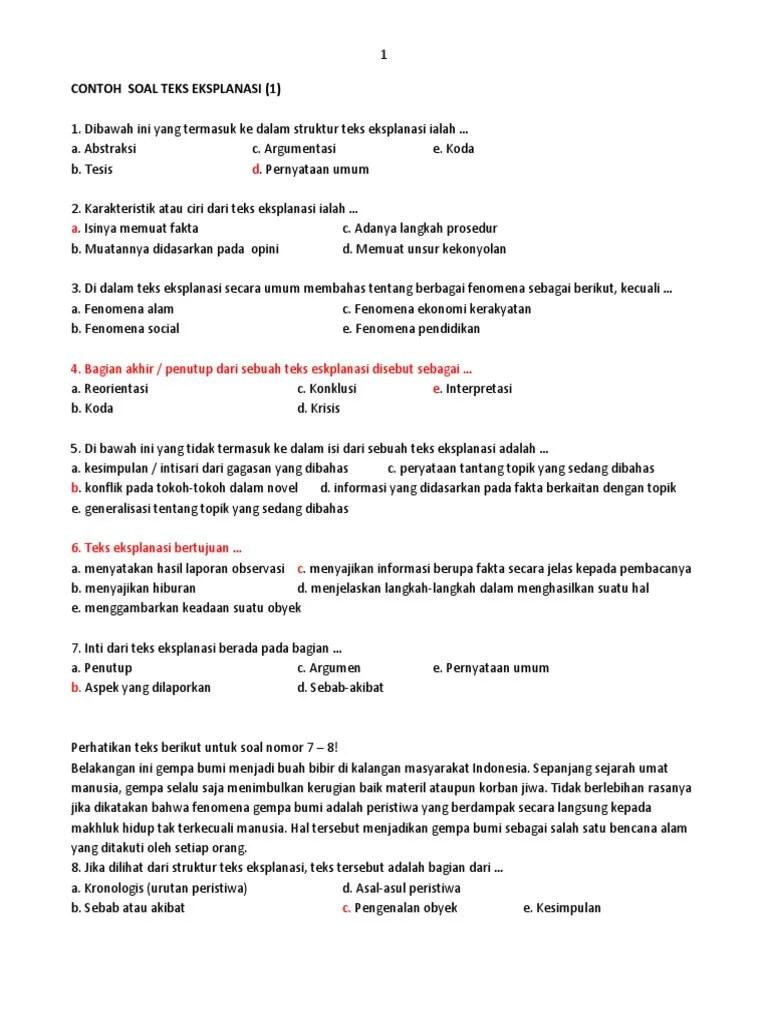 Contoh Soal Teks Eksplanasi : contoh, eksplanasi, Contoh, Pilihan, Ganda, Eksplanasi, Jawaban, Terbaru