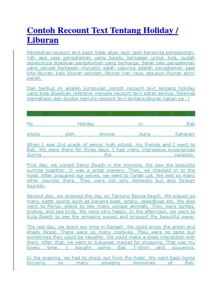 5 Contoh Recount Text Liburan ke Luar Negeri dalam Bahasa