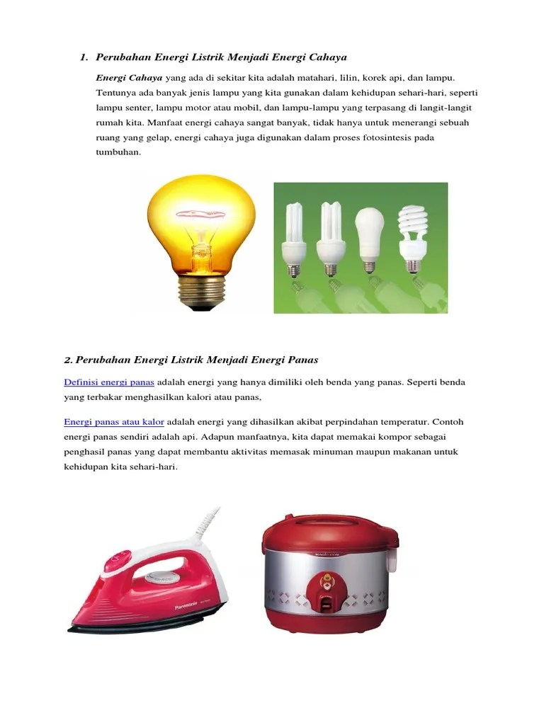 Contoh Energi Listrik Menjadi Gerak : contoh, energi, listrik, menjadi, gerak, Perubahan, Energi, Listrik, Menjadi, Cahaya, Putri