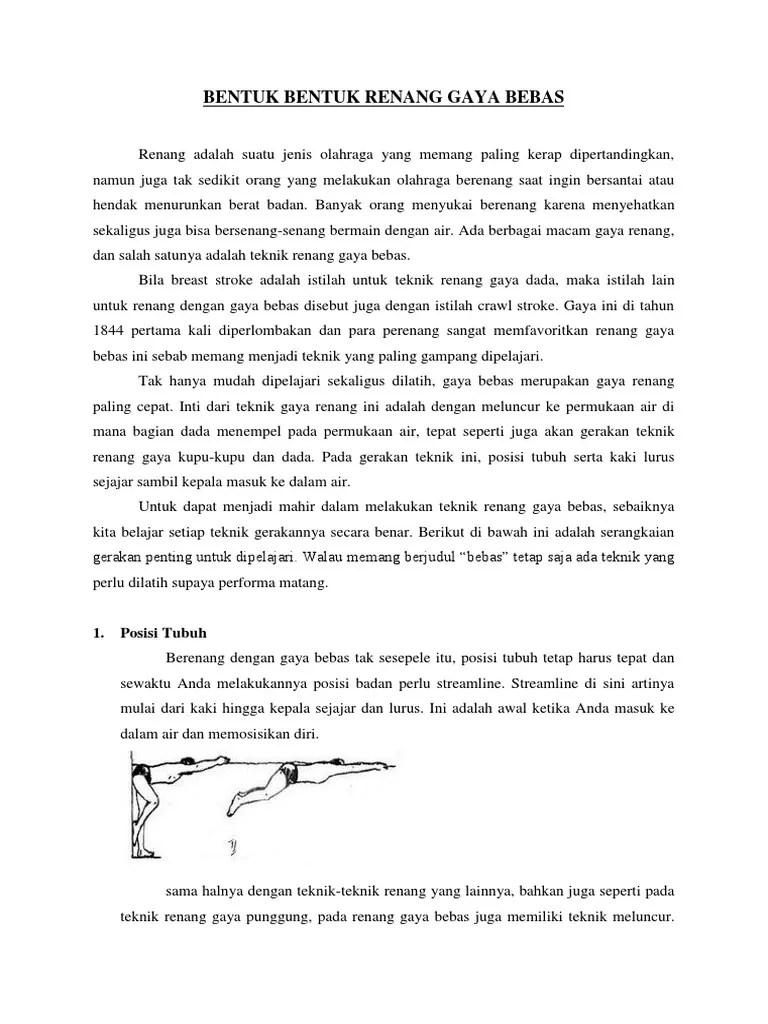 Posisi Tubuh Renang Gaya Bebas : posisi, tubuh, renang, bebas, Bentuk, Renang, Bebas