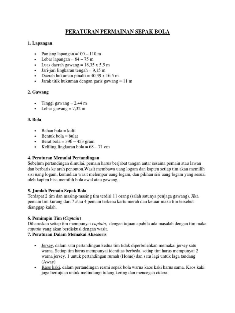 Peraturan Permainan : peraturan, permainan, PERATURAN, PERMAINAN, SEPAK, BOLA.docx