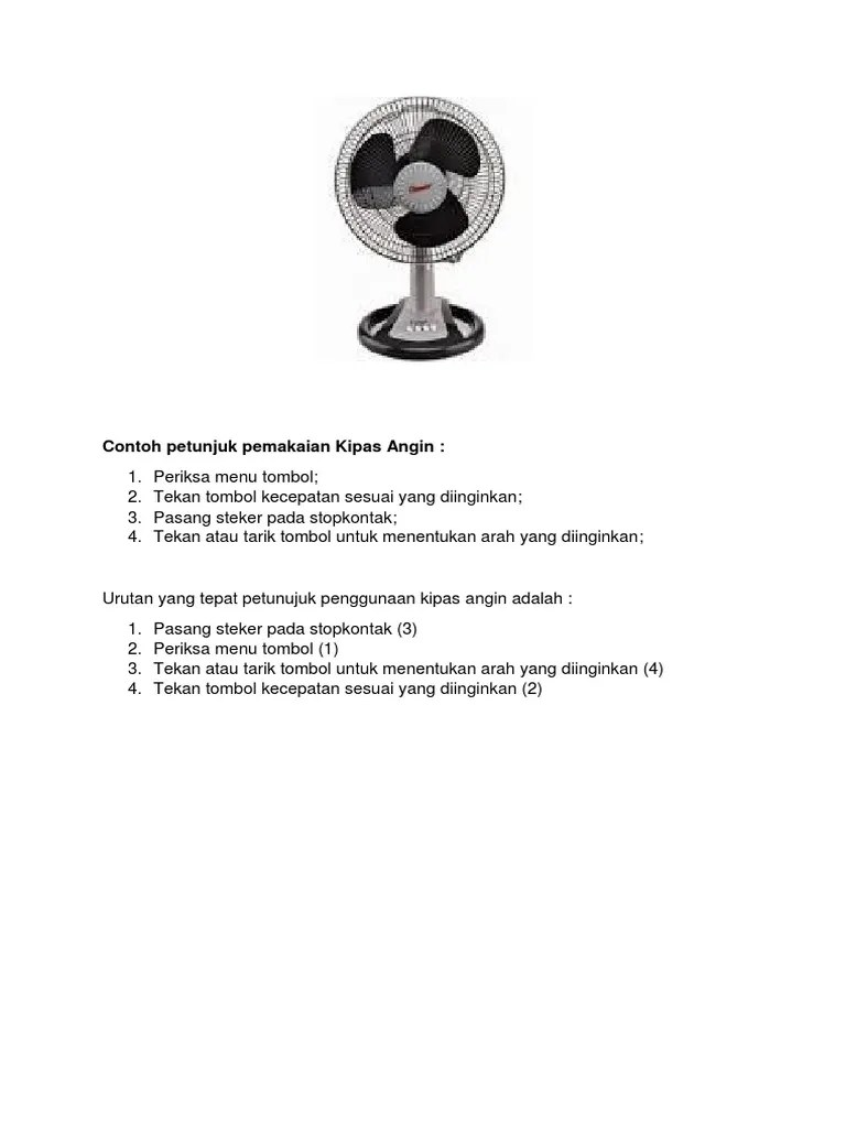 Petunjuk Penggunaan Kipas Angin : petunjuk, penggunaan, kipas, angin, Contoh, Petunjuk, Pemakaian, Kipas, Angin