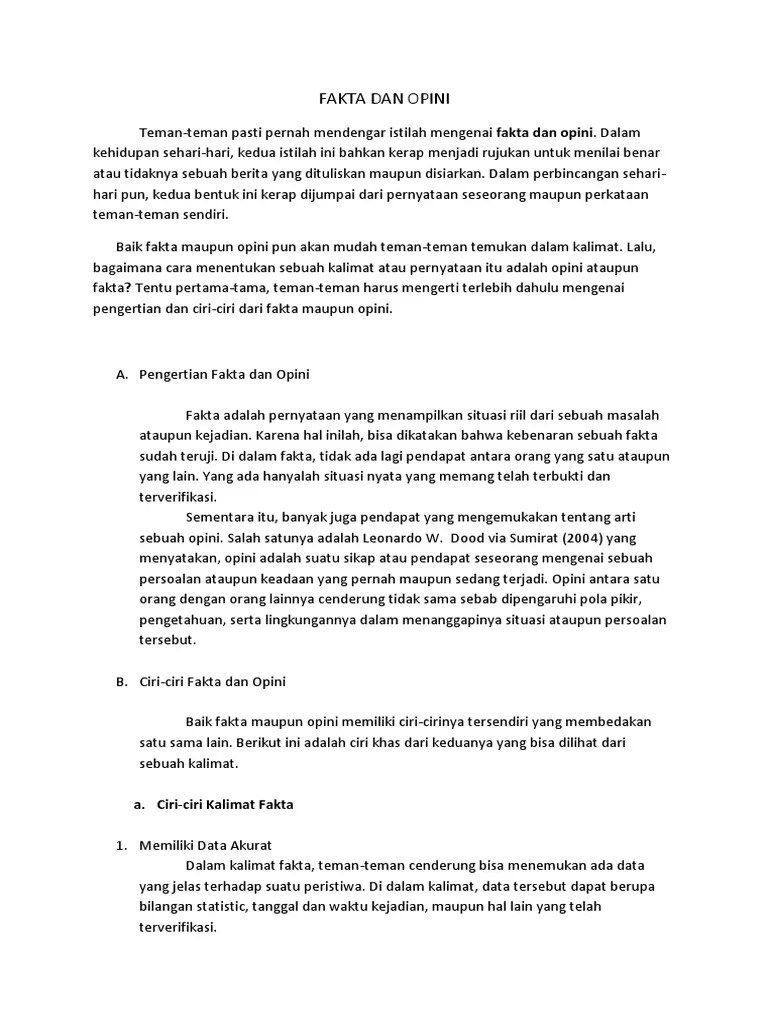 Ciri Kalimat Fakta : kalimat, fakta, FAKTA, OPINI.docx